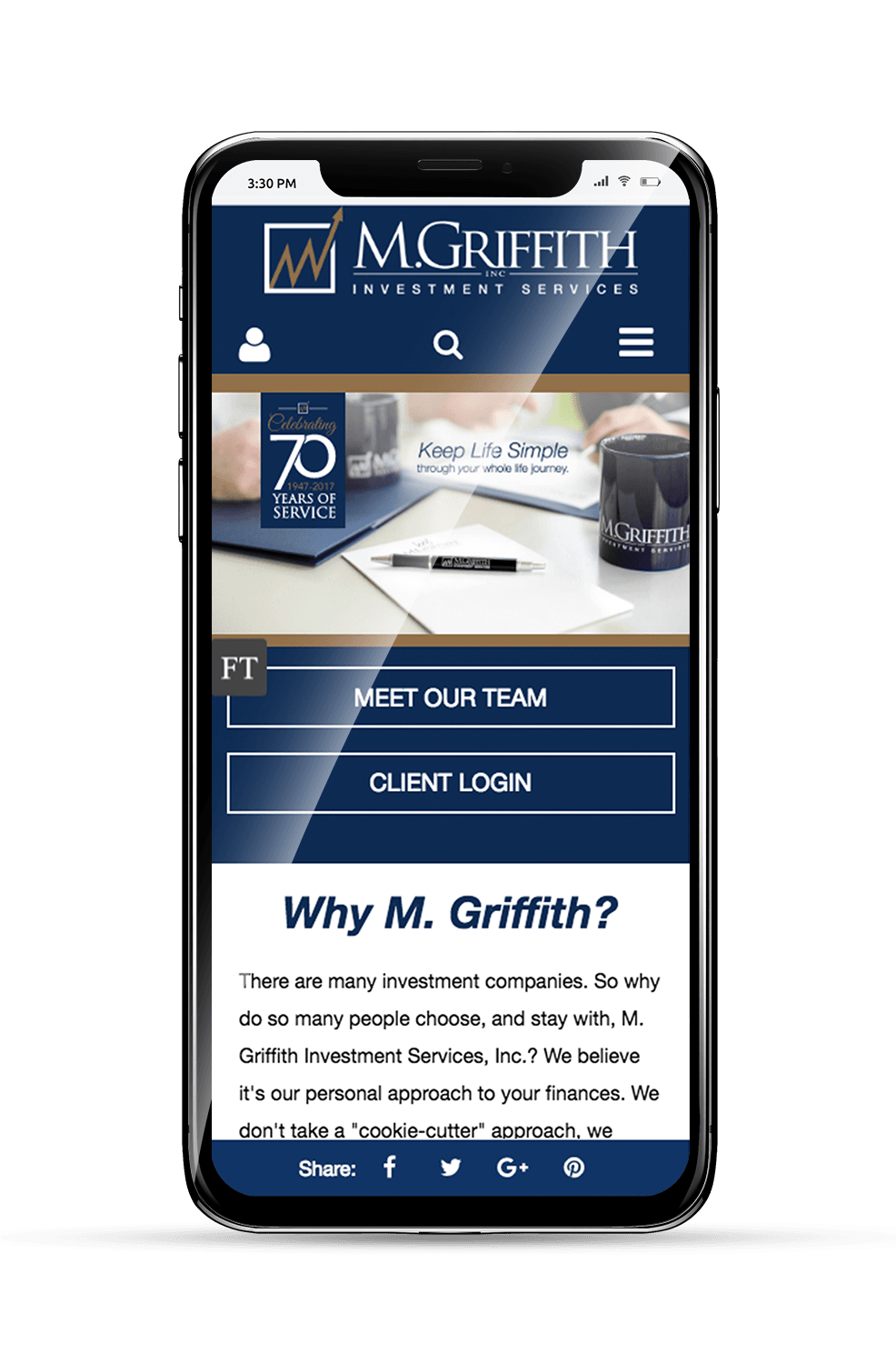 M. Griffith Mobile Website Homepage on an iPhone