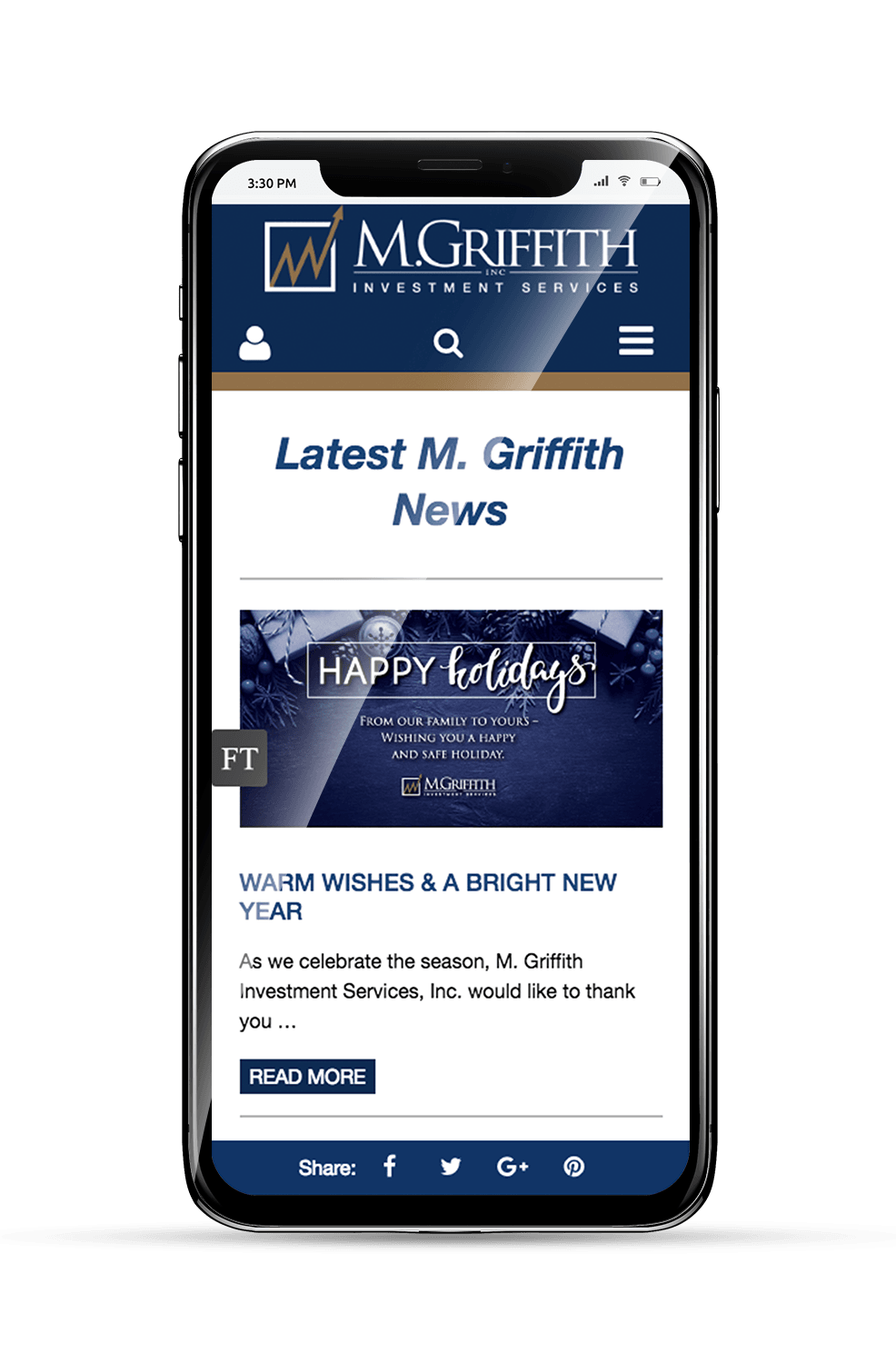 M. Griffith Mobile Website Subpage on an iPhone