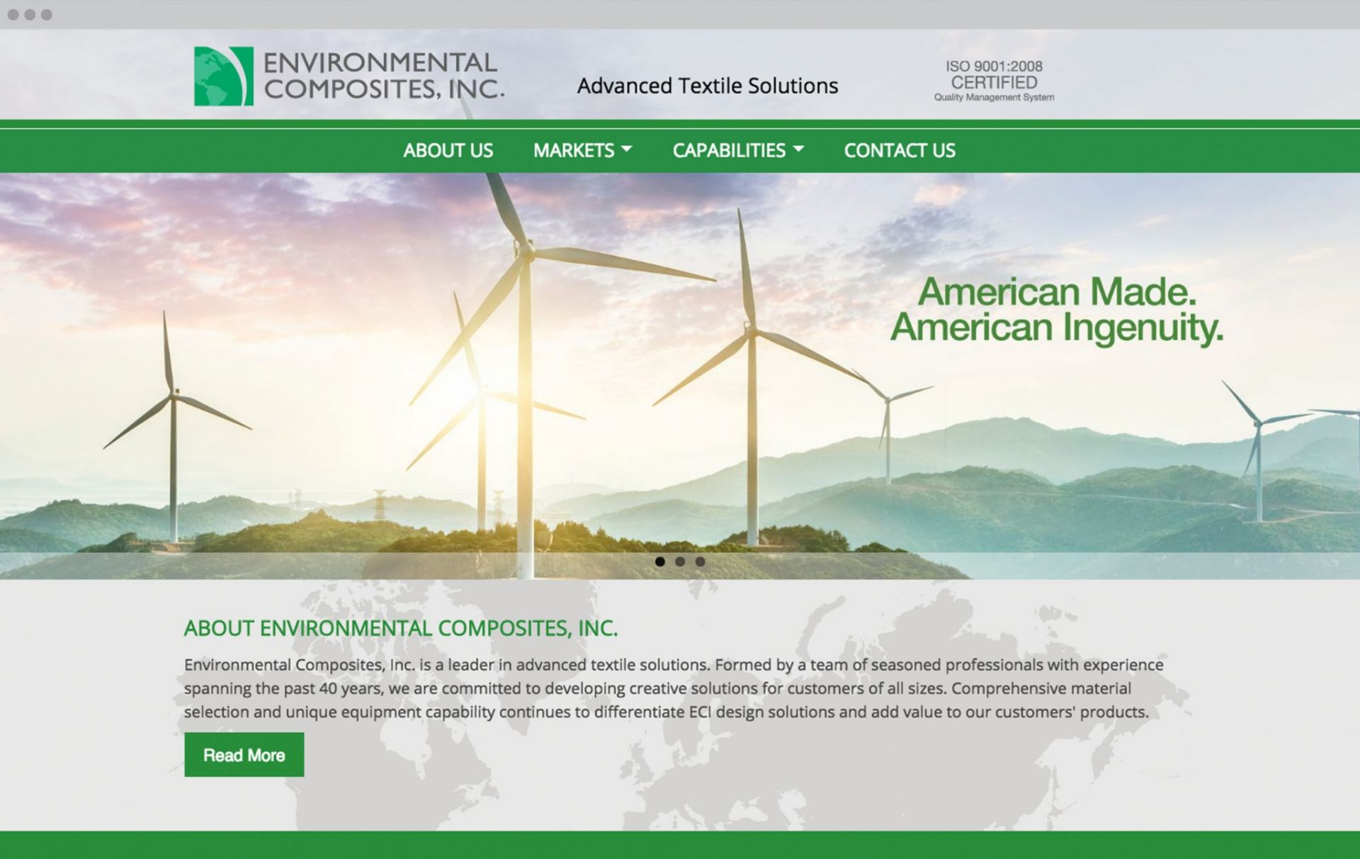 Environmental Composites Homepage Design