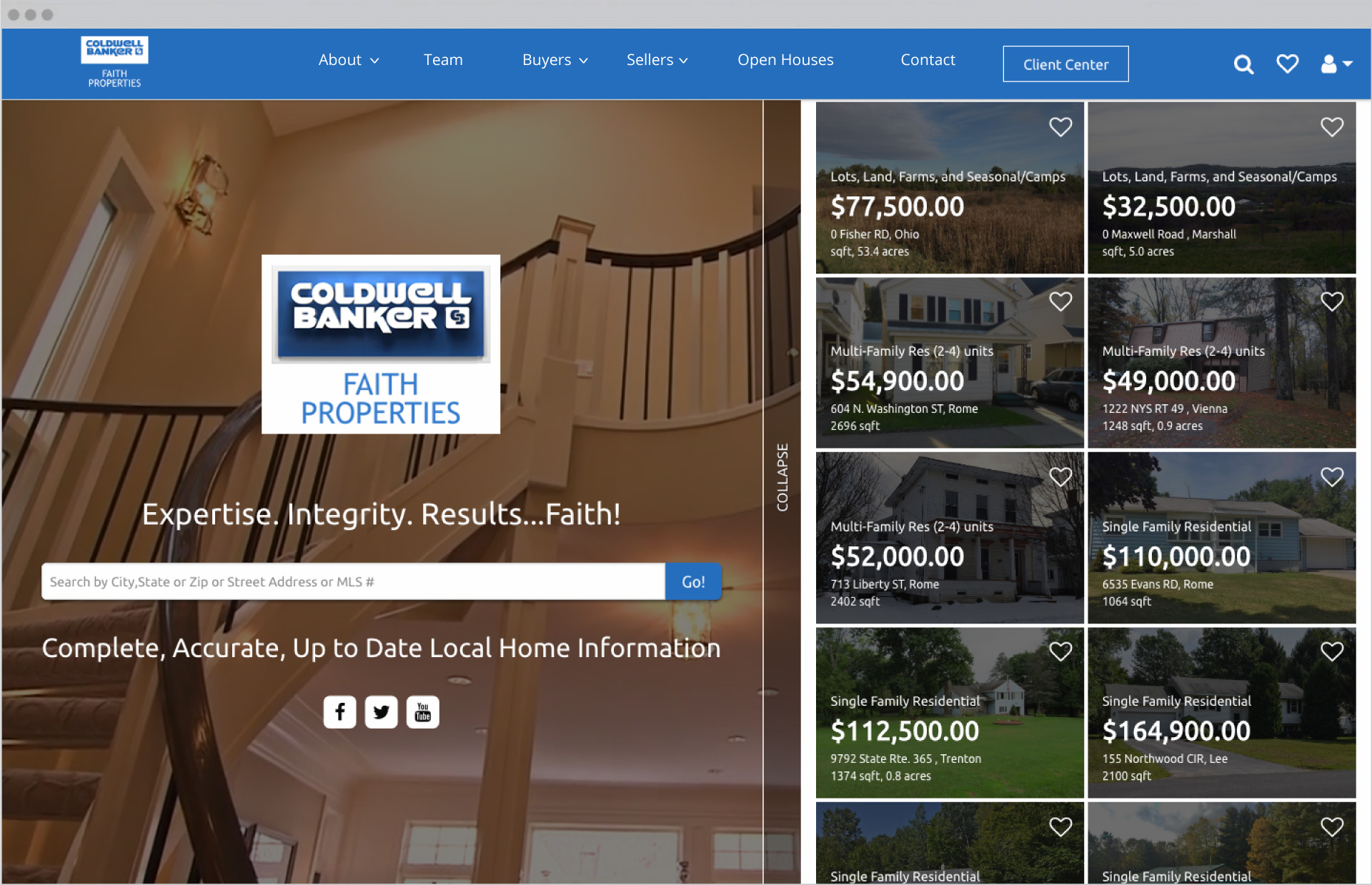 Faith Properties Homepage Design