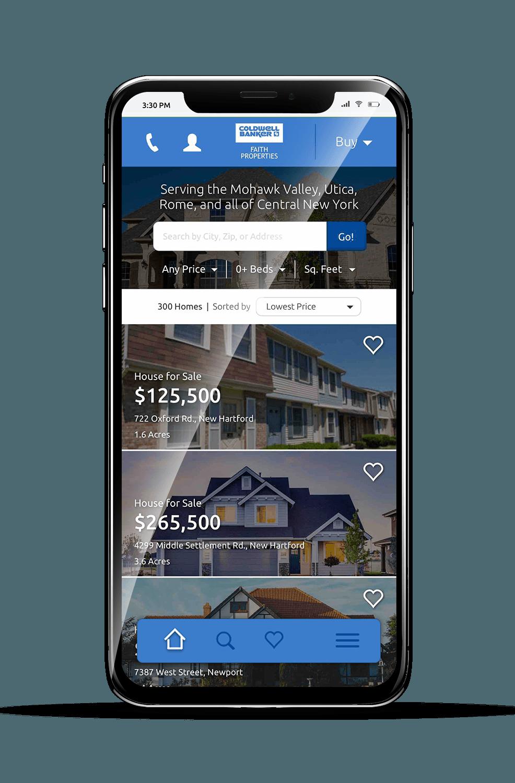 Faith Properties Mobile Homepage Mockup