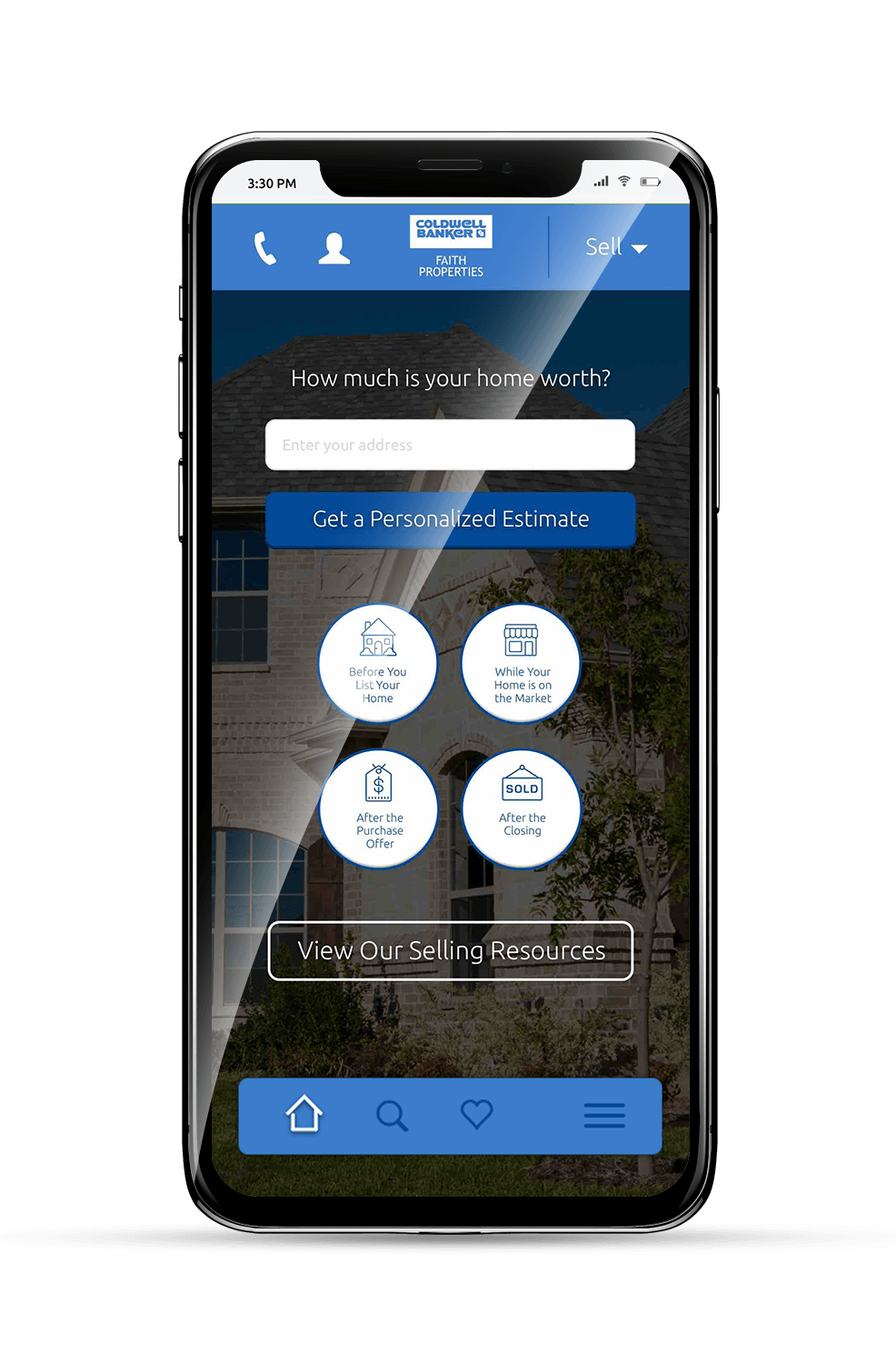 Faith Properties Mobile Subpage Mockup