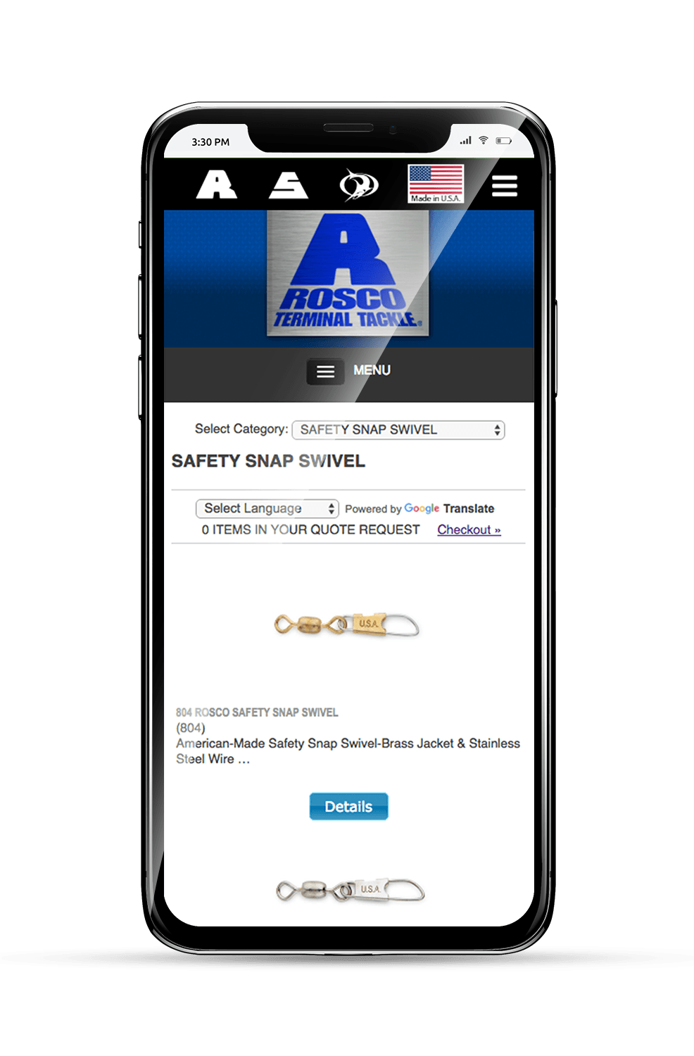 Rosco Tackle Mobile Subpage